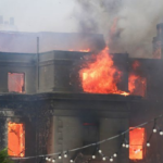 Victorian seafront hotel engulfed in flames